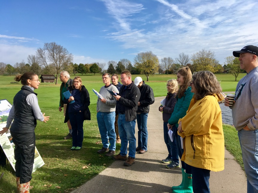 Master Water Stewards learn about a stream improvement project at Oak Glen golf course