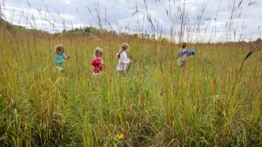 children frolic in the prairie at Pine Point Park